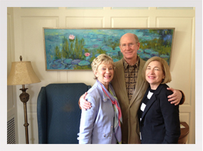 Enjoying a moment with my friend Betsy and Pete Fisher, with Water Lily Impressions II in the background.