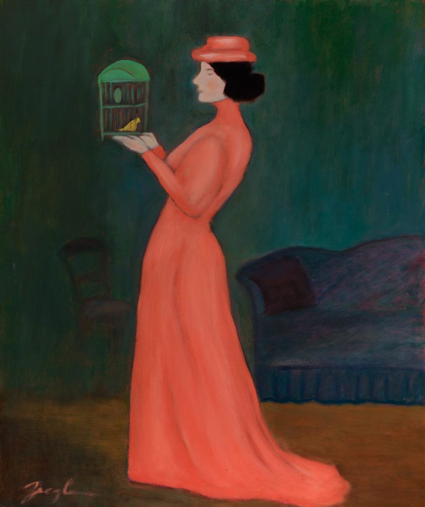 Woman with Birdcage